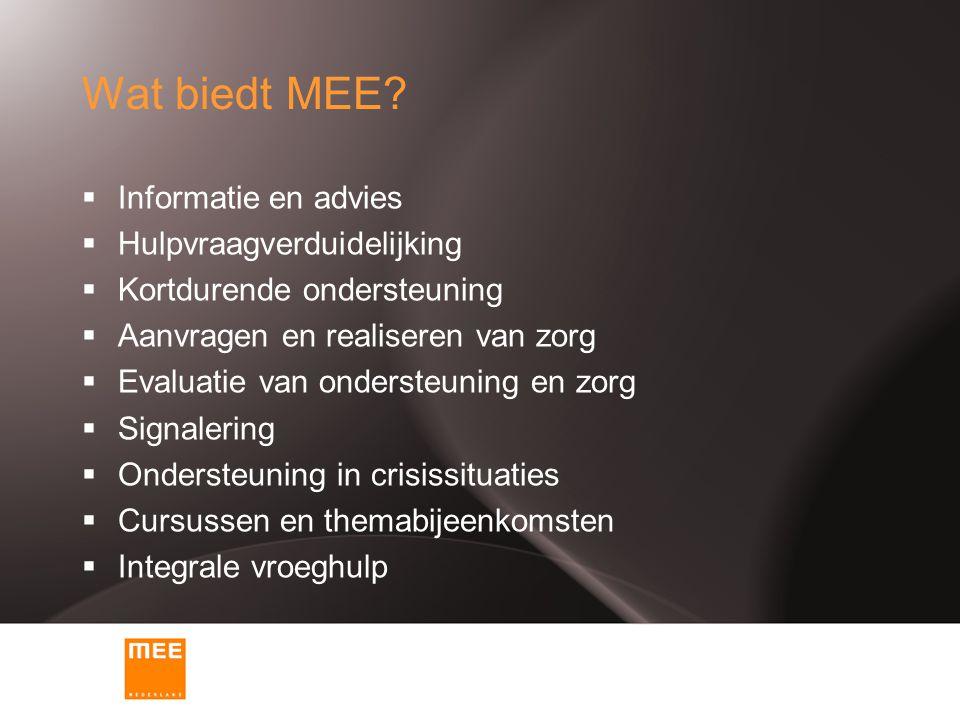 Wat biedt MEE?  Informatie en advies  Hulpvraagverduidelijking  Kortdurende ondersteuning  Aanvragen en realiseren van zorg  Evaluatie van onders