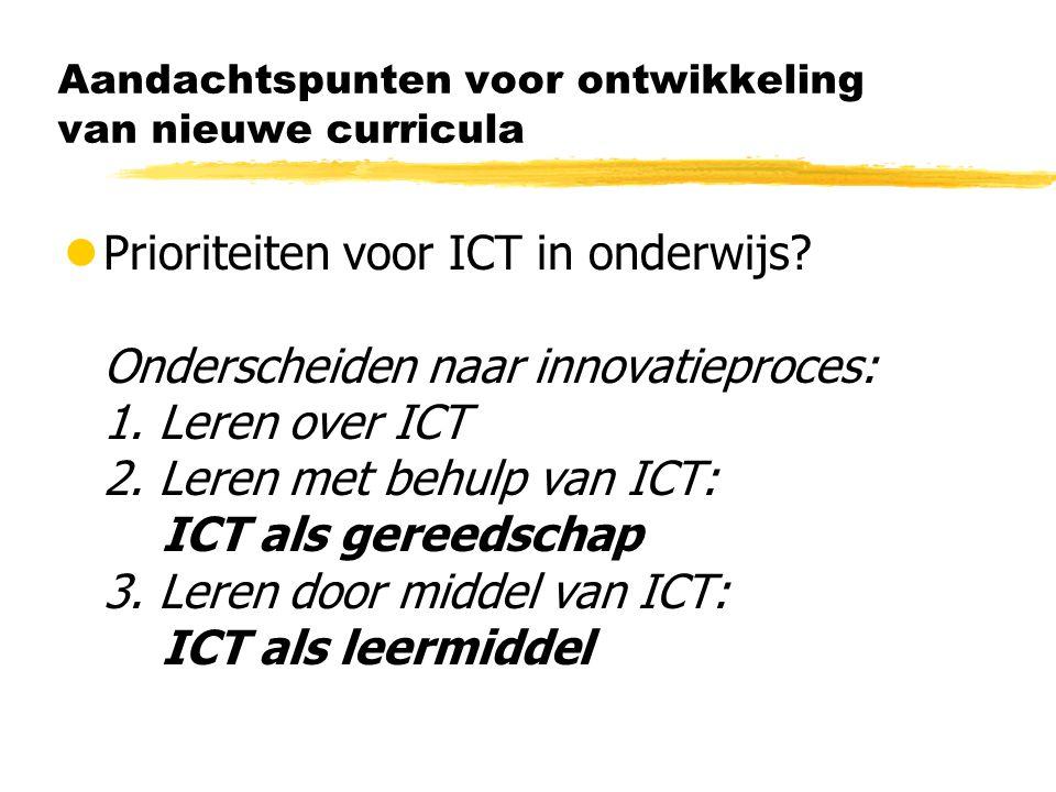 Aandachtspunten voor ontwikkeling van nieuwe curricula lPrioriteiten voor ICT in onderwijs.