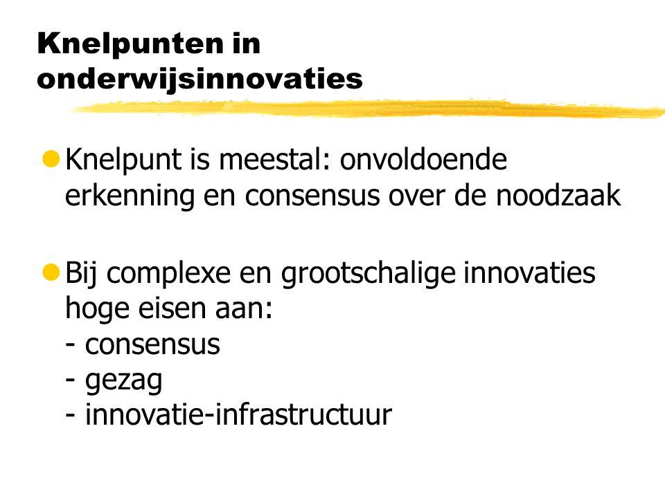 Knelpunten in onderwijsinnovaties lKnelpunt is meestal: onvoldoende erkenning en consensus over de noodzaak lBij complexe en grootschalige innovaties hoge eisen aan: - consensus - gezag - innovatie-infrastructuur