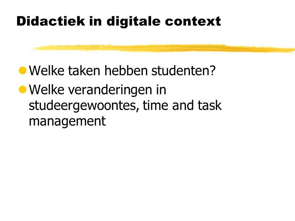 Didactiek in digitale context lWelke taken hebben studenten.