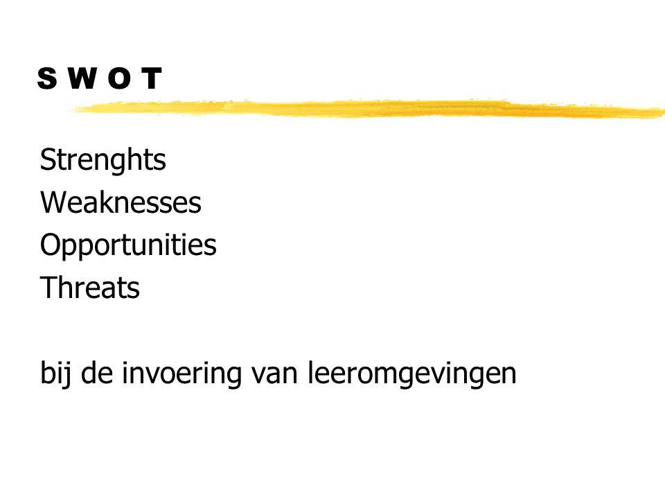 S W O T Strenghts Weaknesses Opportunities Threats bij de invoering van leeromgevingen