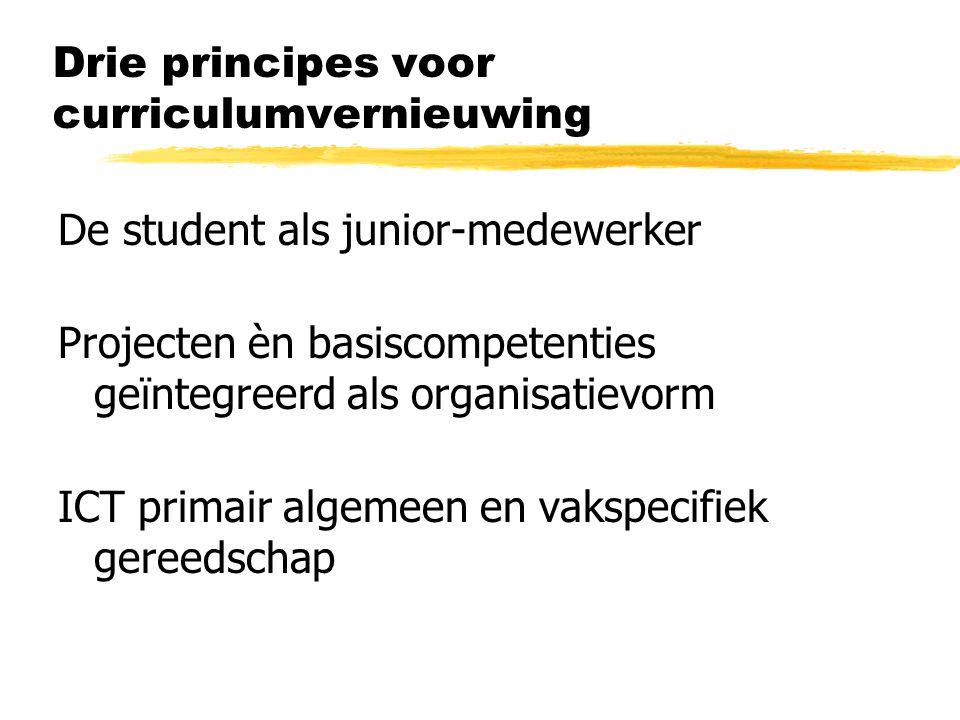 Drie principes voor curriculumvernieuwing De student als junior-medewerker Projecten èn basiscompetenties geïntegreerd als organisatievorm ICT primair algemeen en vakspecifiek gereedschap
