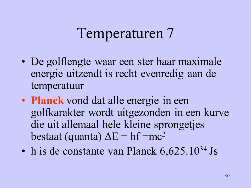 30 Temperaturen 7 De golflengte waar een ster haar maximale energie uitzendt is recht evenredig aan de temperatuur Planck vond dat alle energie in een
