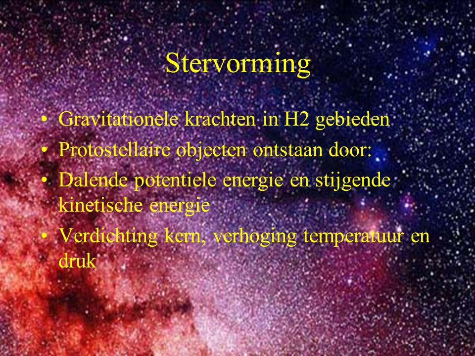 4 Stervorming Gravitationele krachten in H2 gebieden Protostellaire objecten ontstaan door: Dalende potentiele energie en stijgende kinetische energie