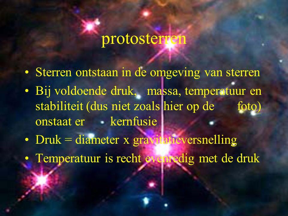 6 protosterren Sterren ontstaan in de omgeving van sterren Bij voldoende druk, massa, temperatuur en stabiliteit (dus niet zoals hier op de foto) onst