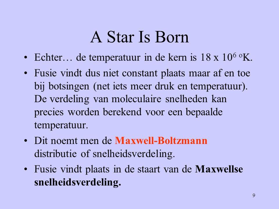 9 A Star Is Born Echter… de temperatuur in de kern is 18 x 10 6 o K. Fusie vindt dus niet constant plaats maar af en toe bij botsingen (net iets meer