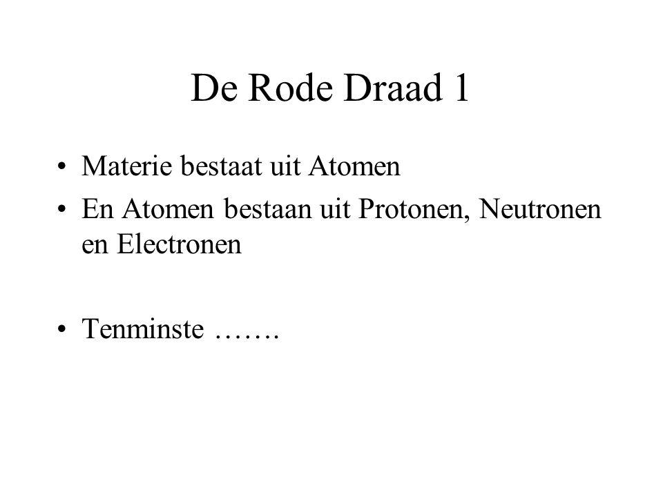 De Rode Draad 1 Materie bestaat uit Atomen En Atomen bestaan uit Protonen, Neutronen en Electronen Tenminste …….