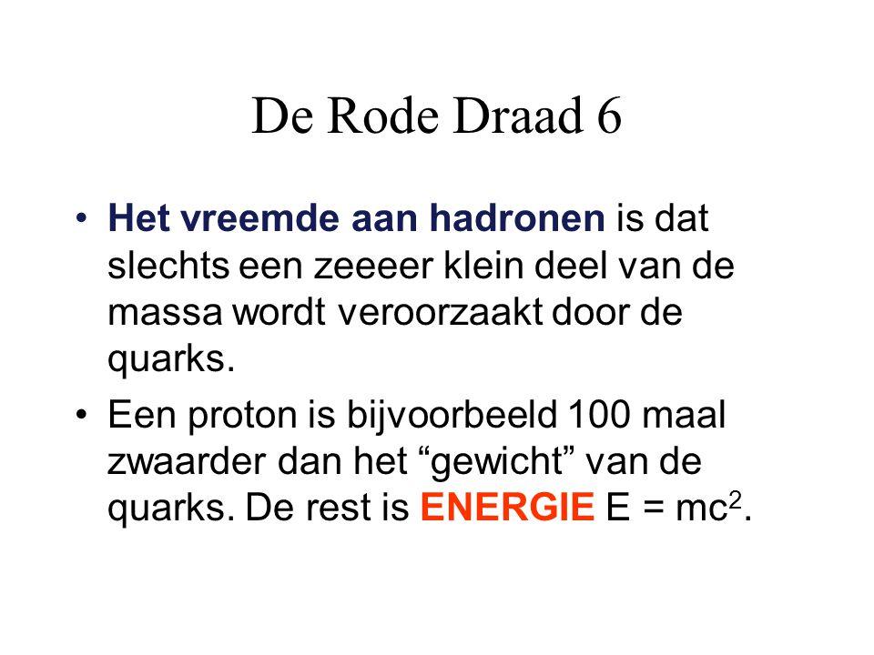De Rode Draad 6 Het vreemde aan hadronen is dat slechts een zeeeer klein deel van de massa wordt veroorzaakt door de quarks. Een proton is bijvoorbeel