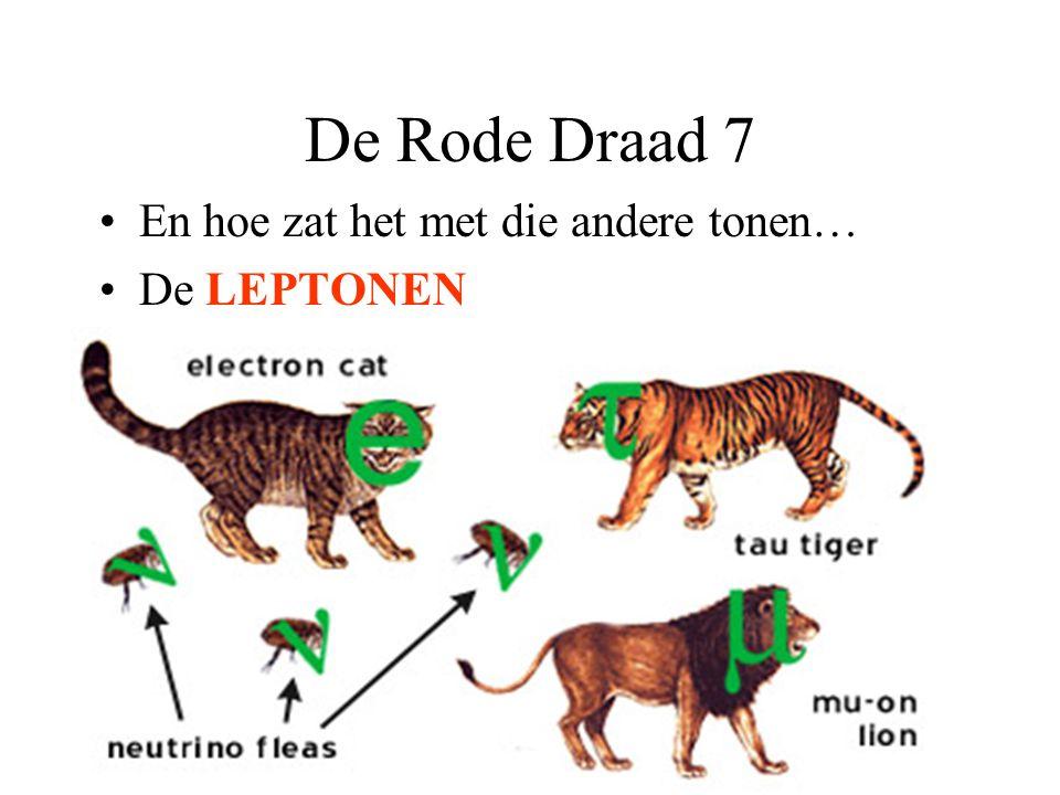 De Rode Draad 7 En hoe zat het met die andere tonen… De LEPTONEN