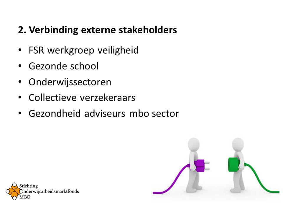 2. Verbinding externe stakeholders FSR werkgroep veiligheid Gezonde school Onderwijssectoren Collectieve verzekeraars Gezondheid adviseurs mbo sector