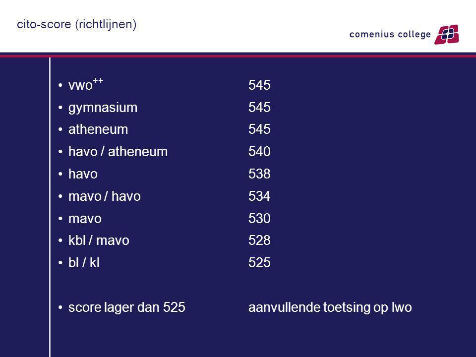 cito-score (richtlijnen) vwo ++ 545 gymnasium545 atheneum545 havo / atheneum540 havo538 mavo / havo534 mavo530 kbl / mavo528 bl / kl525 score lager da
