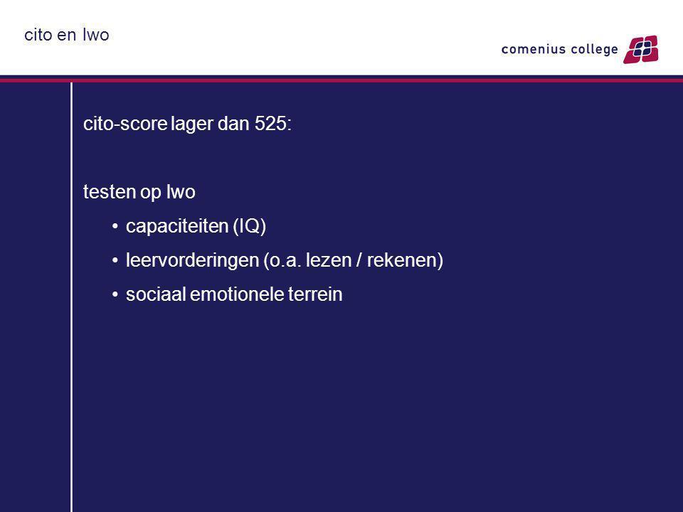 cito en lwo cito-score lager dan 525: testen op lwo capaciteiten (IQ) leervorderingen (o.a.