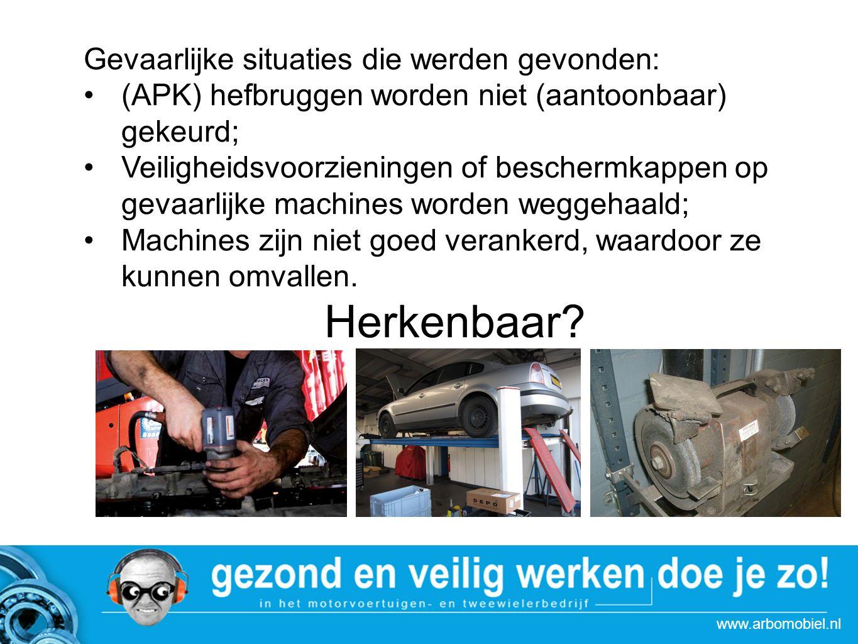 www.arbomobiel.nl Gevaarlijke situaties die werden gevonden: (APK) hefbruggen worden niet (aantoonbaar) gekeurd; Veiligheidsvoorzieningen of beschermkappen op gevaarlijke machines worden weggehaald; Machines zijn niet goed verankerd, waardoor ze kunnen omvallen.
