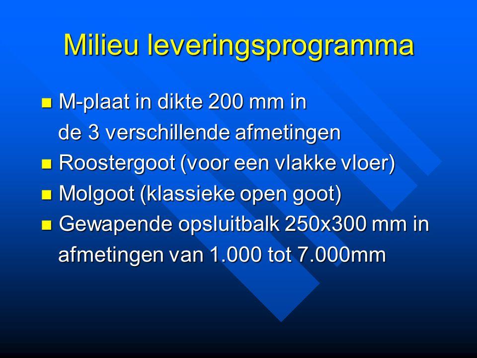 Milieu leveringsprogramma M-plaat in dikte 200 mm in M-plaat in dikte 200 mm in de 3 verschillende afmetingen de 3 verschillende afmetingen Roostergoo