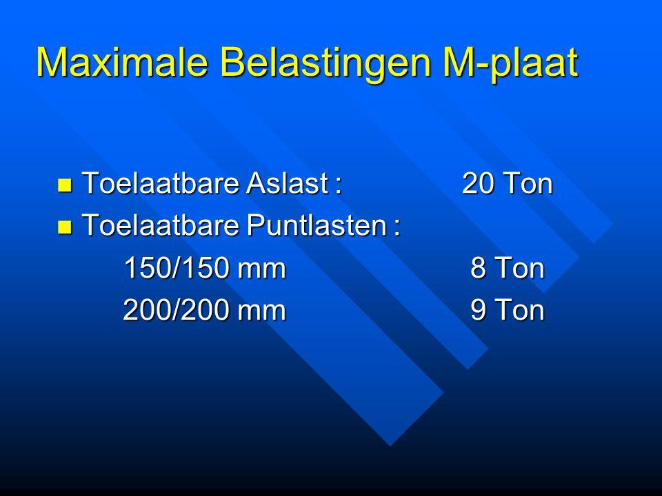 Maximale Belastingen M-plaat Toelaatbare Aslast : 20 Ton Toelaatbare Aslast : 20 Ton Toelaatbare Puntlasten : Toelaatbare Puntlasten : 150/150 mm 8 To