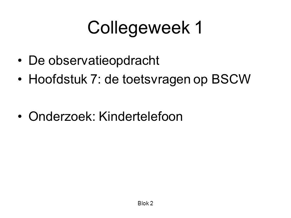 Blok 2 Collegeweek 1 De observatieopdracht Hoofdstuk 7: de toetsvragen op BSCW Onderzoek: Kindertelefoon