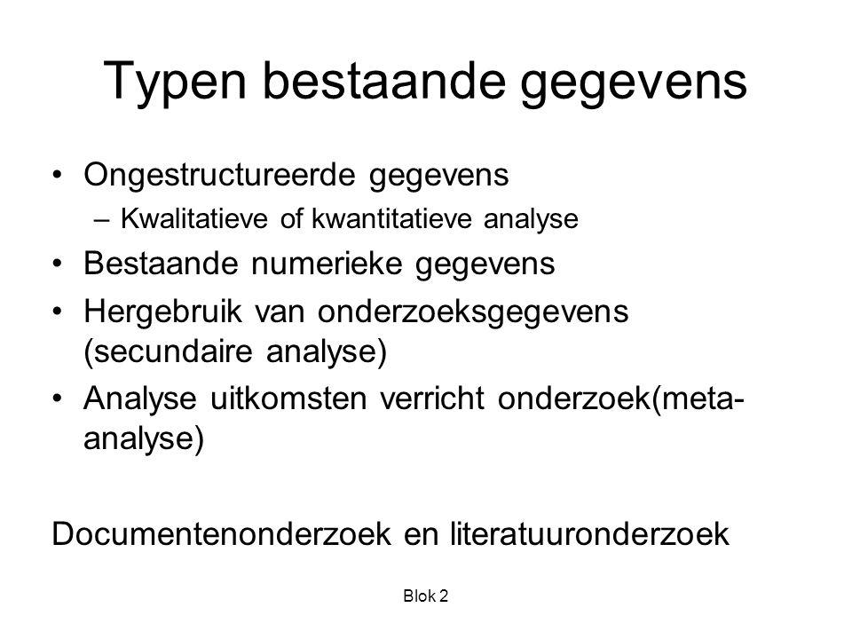 Blok 2 Opslag bestaande gegevens In: Archieven, dossiers, gegevensbestanden Datamanagementsystemen:beheer Censusdata: grote bestanden van bijv.