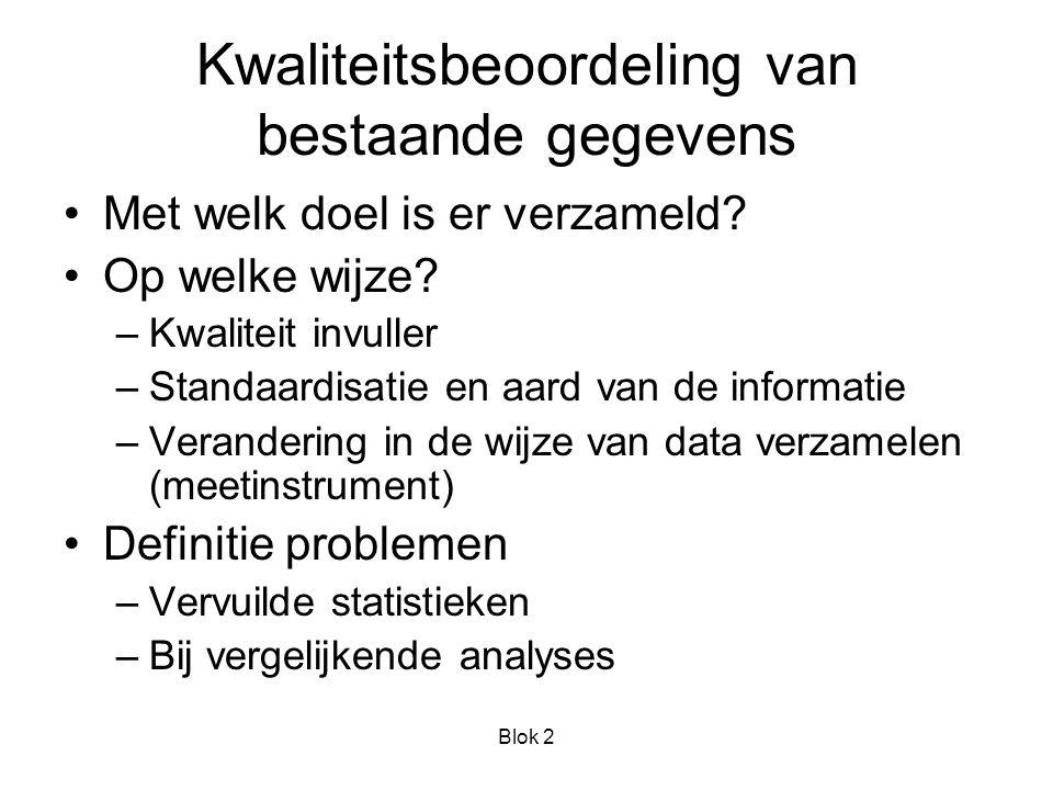 Blok 2 Kwaliteitsbeoordeling van bestaande gegevens Met welk doel is er verzameld.