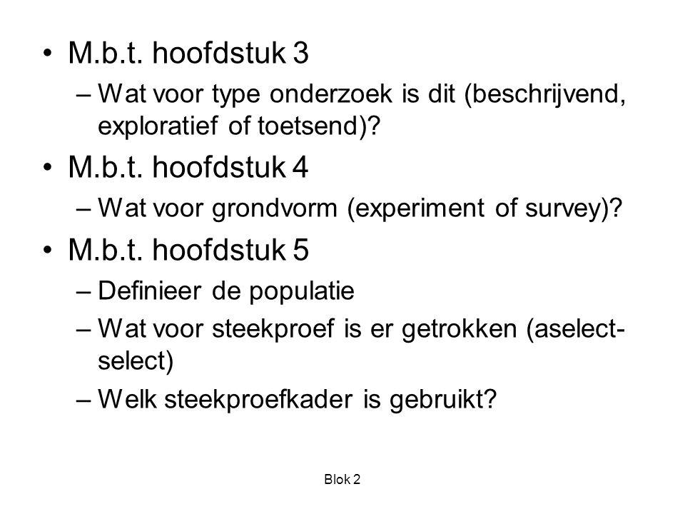 Blok 2 M.b.t. hoofdstuk 3 –Wat voor type onderzoek is dit (beschrijvend, exploratief of toetsend).