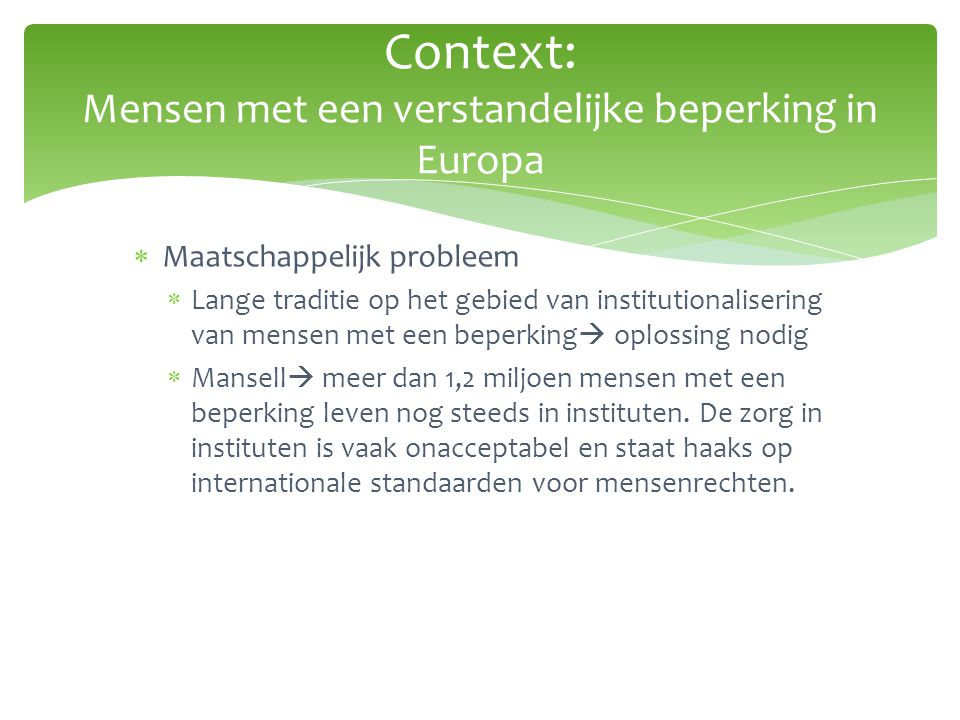  Europese commissie  onderzoek naar 'disability and social participation.
