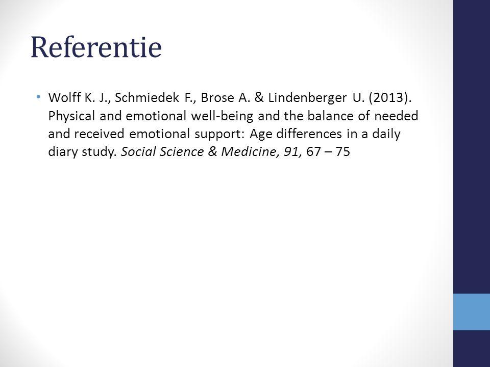 Referentie Wolff K.J., Schmiedek F., Brose A. & Lindenberger U.