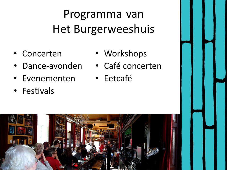 Programma van Het Burgerweeshuis Concerten Dance-avonden Evenementen Festivals Workshops Café concerten Eetcafé