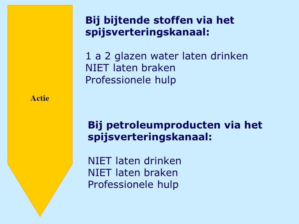 Actie Bij bijtende stoffen via het spijsverteringskanaal: 1 a 2 glazen water laten drinken NIET laten braken Professionele hulp Bij petroleumproducten