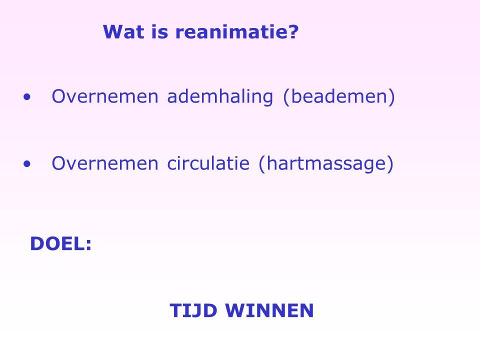 Wat is reanimatie? Overnemen ademhaling (beademen) Overnemen circulatie (hartmassage) DOEL: TIJD WINNEN