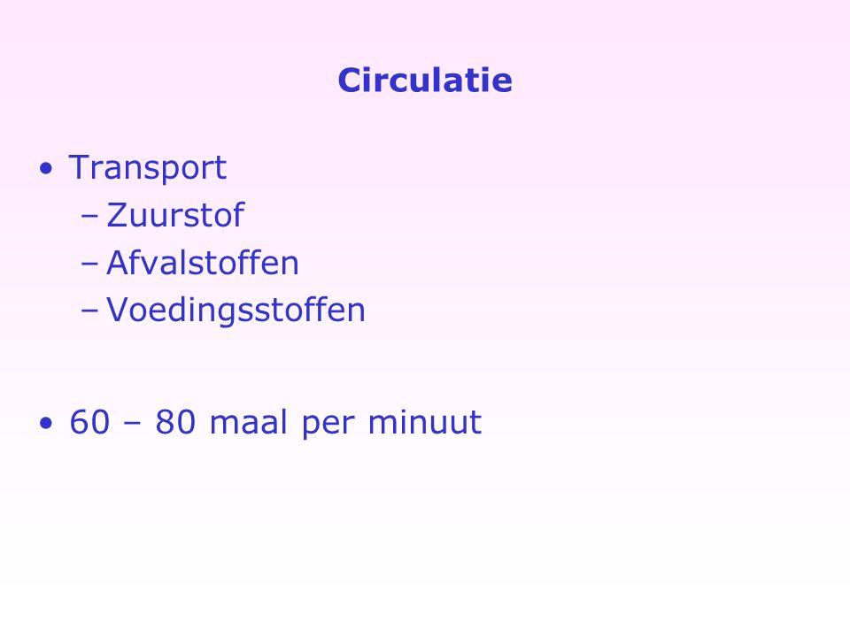 Circulatie Transport –Zuurstof –Afvalstoffen –Voedingsstoffen 60 – 80 maal per minuut
