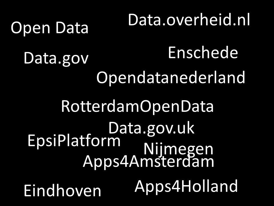 Open Data RotterdamOpenData Apps4Amsterdam Enschede Eindhoven Opendatanederland Data.gov.uk Data.gov EpsiPlatform Apps4Holland Data.overheid.nl Nijmegen