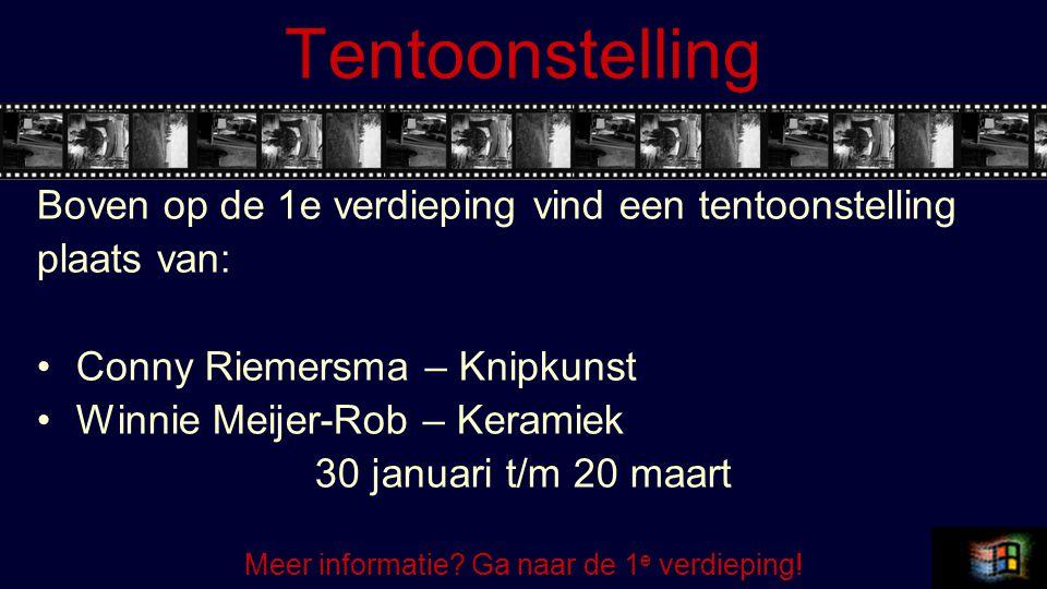 Tentoonstelling Boven op de 1e verdieping vind een tentoonstelling plaats van: Conny Riemersma – Knipkunst Winnie Meijer-Rob – Keramiek 30 januari t/m