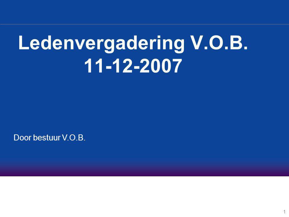 1 Ledenvergadering V.O.B. 11-12-2007 Door bestuur V.O.B.