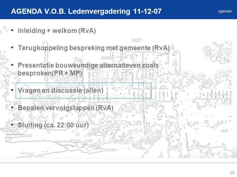 25 Inleiding + welkom (RvA) Terugkoppeling bespreking met gemeente (RvA) Presentatie bouwkundige alternatieven zoals besproken(PR + MP) Vragen en discussie (allen) Bepalen vervolgstappen (RvA) Sluiting (ca.
