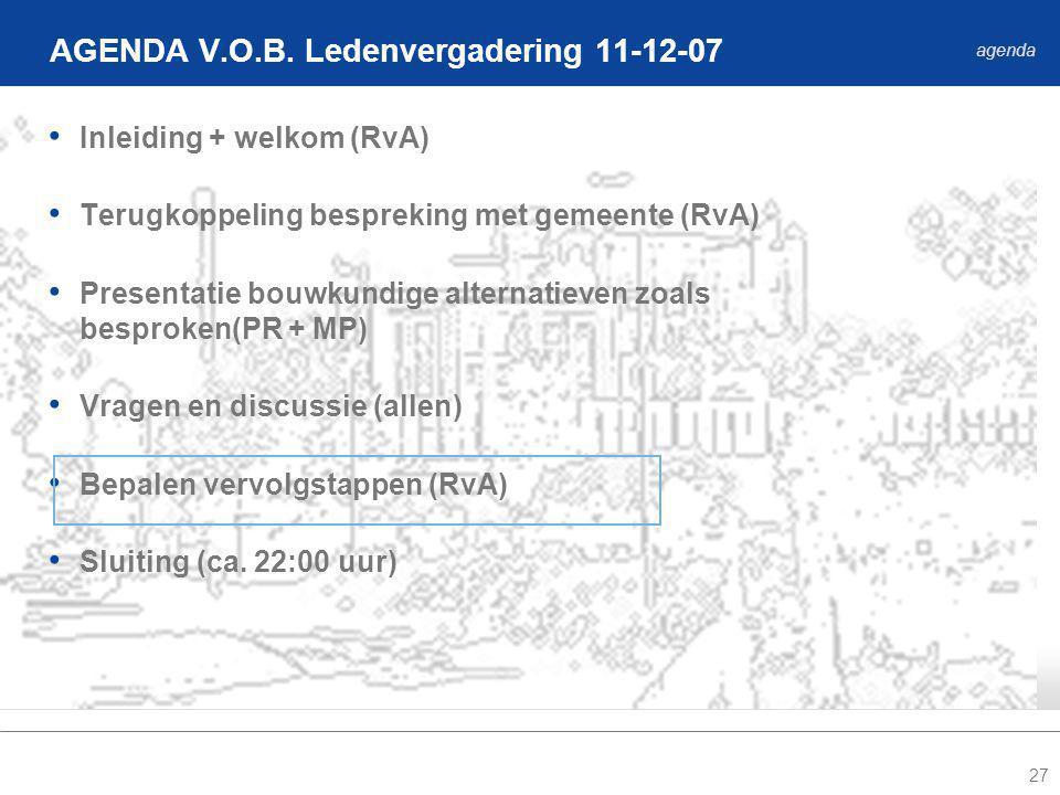 27 Inleiding + welkom (RvA) Terugkoppeling bespreking met gemeente (RvA) Presentatie bouwkundige alternatieven zoals besproken(PR + MP) Vragen en discussie (allen) Bepalen vervolgstappen (RvA) Sluiting (ca.