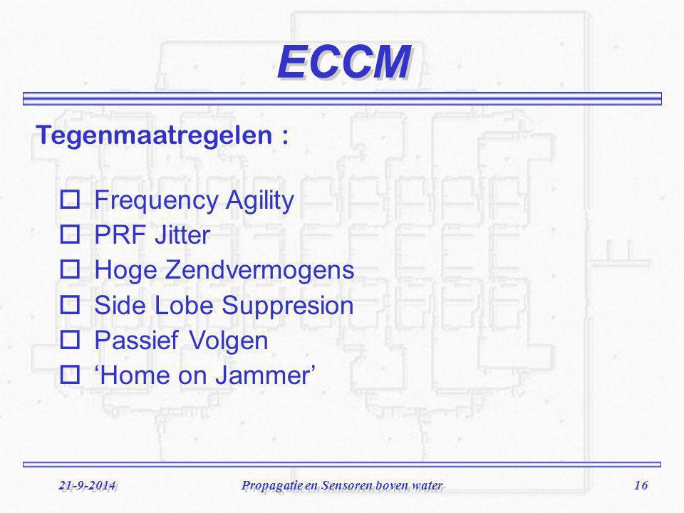 16 21-9-2014Propagatie en Sensoren boven water ECCM oFrequency Agility oPRF Jitter oHoge Zendvermogens oSide Lobe Suppresion oPassief Volgen o'Home on Jammer' Tegenmaatregelen :