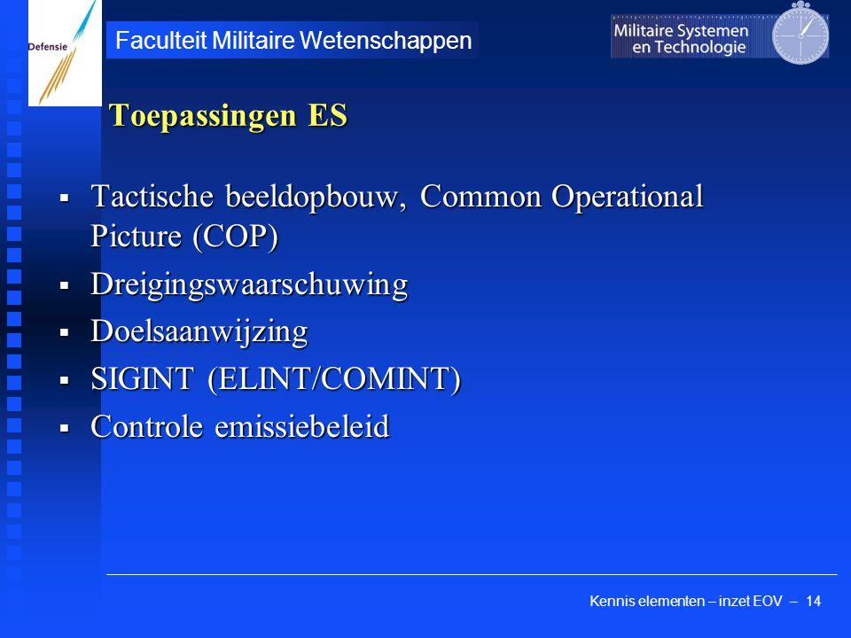 Kennis elementen – inzet EOV – 14 Faculteit Militaire Wetenschappen Toepassingen ES  Tactische beeldopbouw, Common Operational Picture (COP)  Dreigi