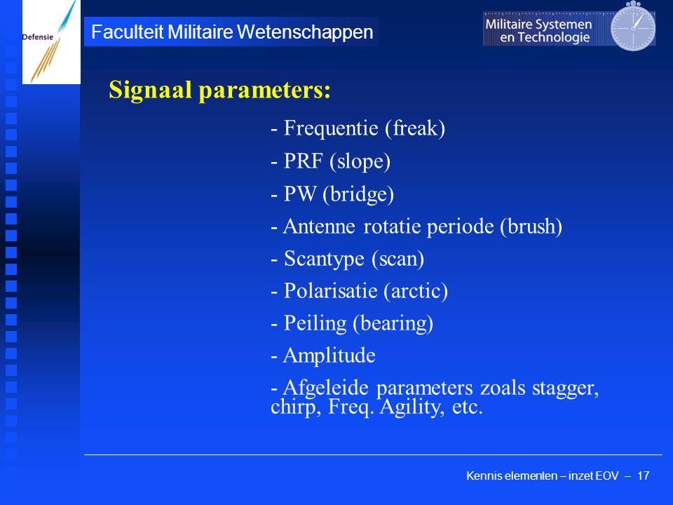Kennis elementen – inzet EOV – 17 Faculteit Militaire Wetenschappen Signaal parameters: - Frequentie (freak) - PRF (slope) - PW (bridge) - Antenne rot