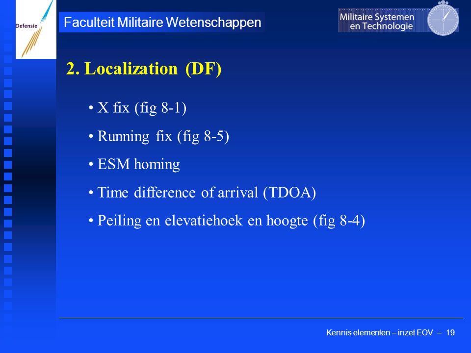 Kennis elementen – inzet EOV – 19 Faculteit Militaire Wetenschappen X fix (fig 8-1) Running fix (fig 8-5) ESM homing Time difference of arrival (TDOA)