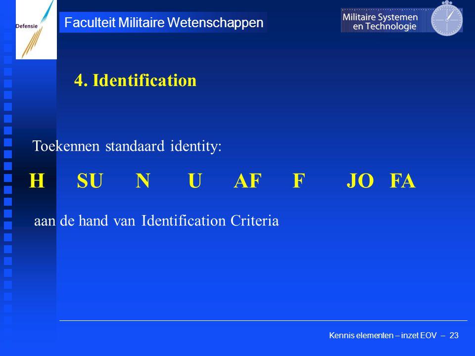Kennis elementen – inzet EOV – 23 Faculteit Militaire Wetenschappen Toekennen standaard identity: H SU N U AF F JO FA aan de hand van Identification C