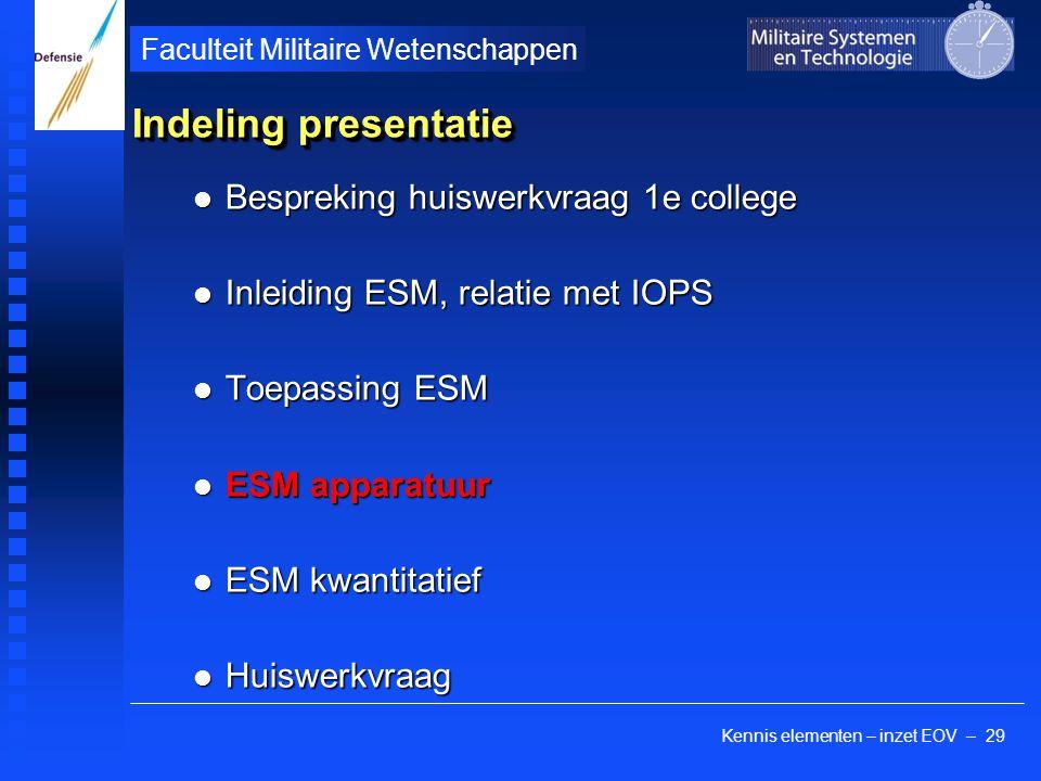 Kennis elementen – inzet EOV – 29 Faculteit Militaire Wetenschappen Indeling presentatie Bespreking huiswerkvraag 1e college Bespreking huiswerkvraag