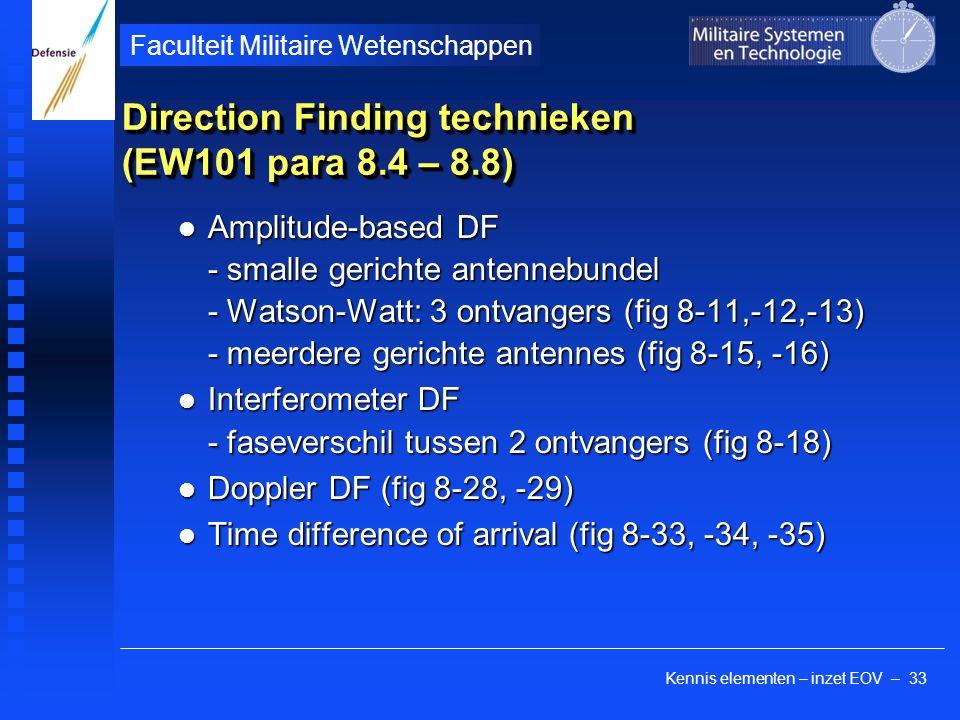Kennis elementen – inzet EOV – 33 Faculteit Militaire Wetenschappen Direction Finding technieken (EW101 para 8.4 – 8.8) Amplitude-based DF - smalle ge