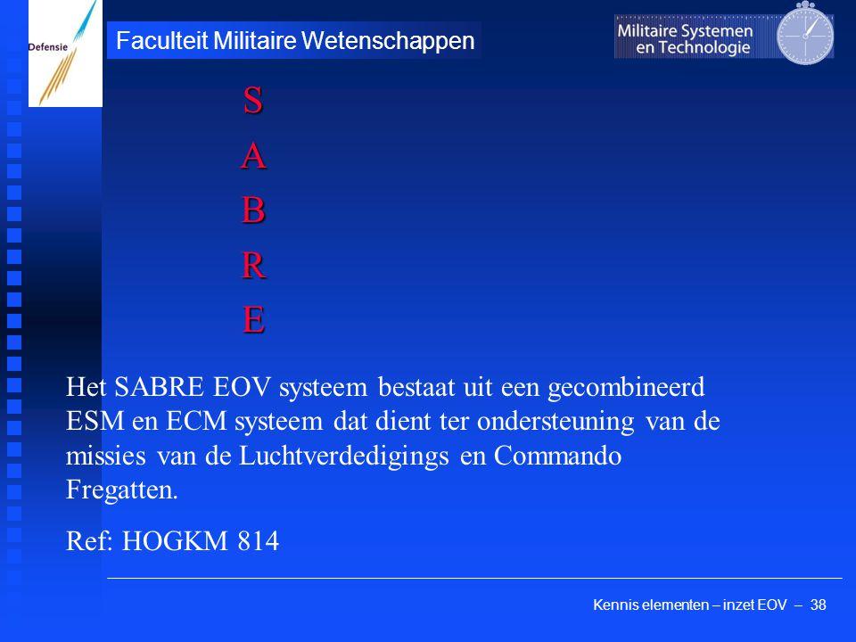 Kennis elementen – inzet EOV – 38 Faculteit Militaire Wetenschappen SABRE Het SABRE EOV systeem bestaat uit een gecombineerd ESM en ECM systeem dat di