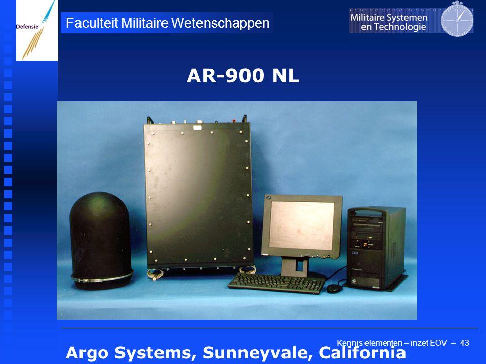 Kennis elementen – inzet EOV – 43 Faculteit Militaire Wetenschappen AR-900 NL Argo Systems, Sunneyvale, California