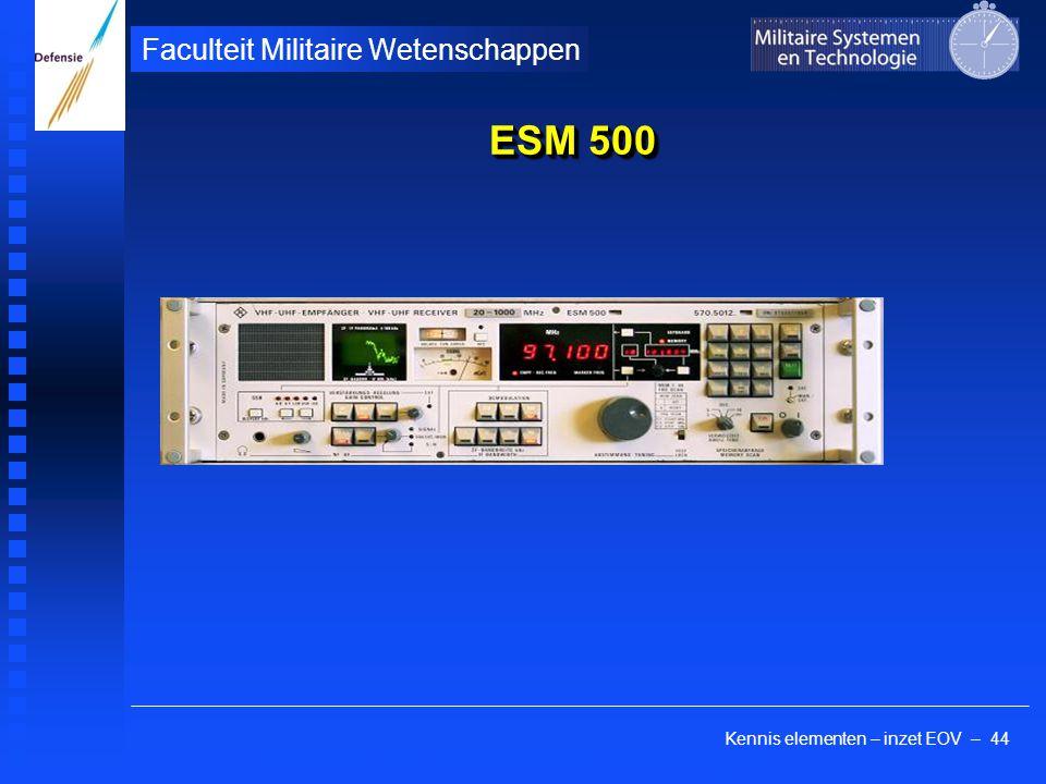 Kennis elementen – inzet EOV – 44 Faculteit Militaire Wetenschappen ESM 500 Rohde & Schwartz, Duitsland