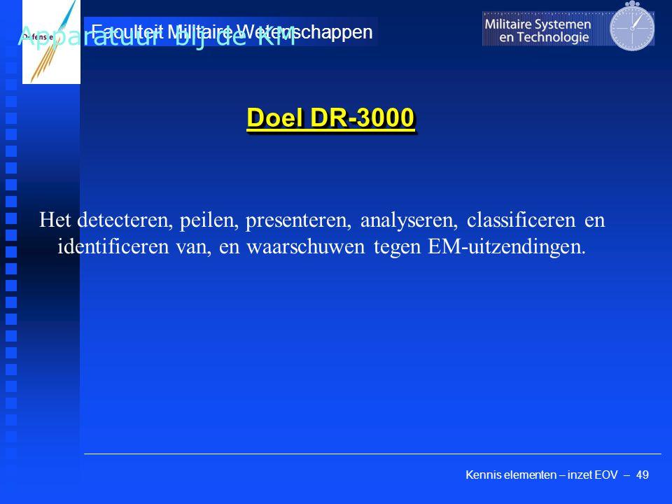 Kennis elementen – inzet EOV – 49 Faculteit Militaire Wetenschappen Doel DR-3000 Het detecteren, peilen, presenteren, analyseren, classificeren en ide