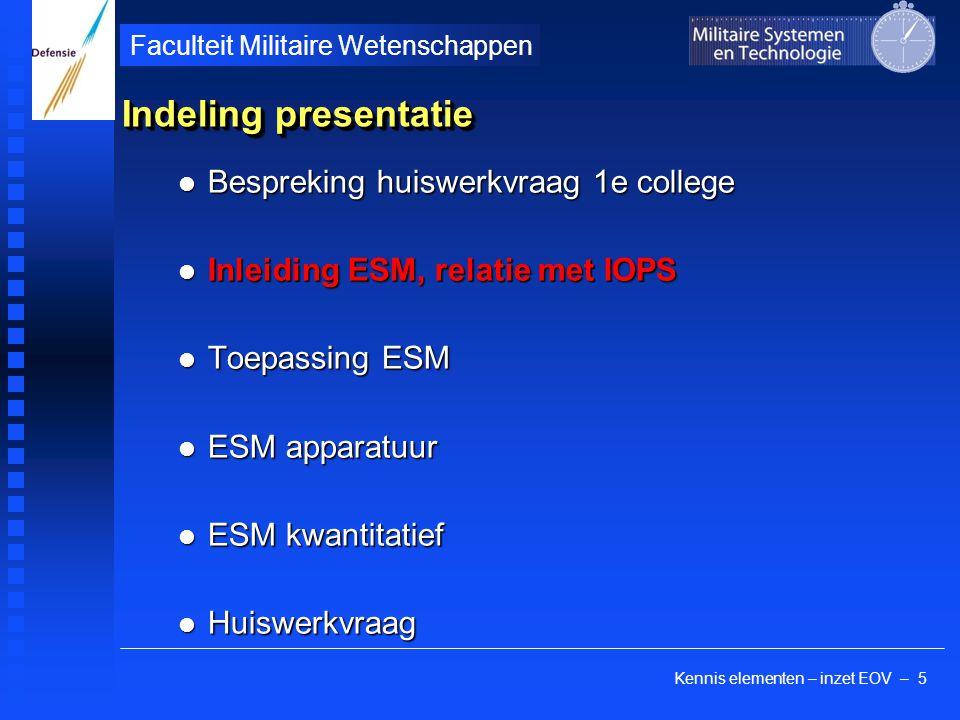 Kennis elementen – inzet EOV – 5 Faculteit Militaire Wetenschappen Indeling presentatie Bespreking huiswerkvraag 1e college Bespreking huiswerkvraag 1
