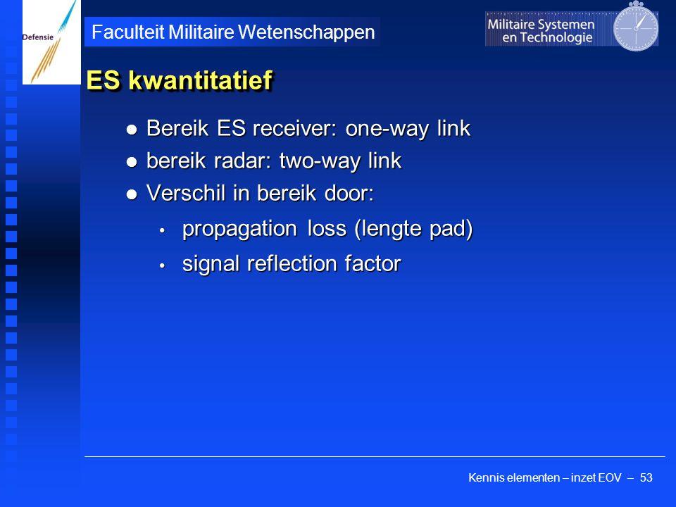 Kennis elementen – inzet EOV – 53 Faculteit Militaire Wetenschappen ES kwantitatief Bereik ES receiver: one-way link Bereik ES receiver: one-way link