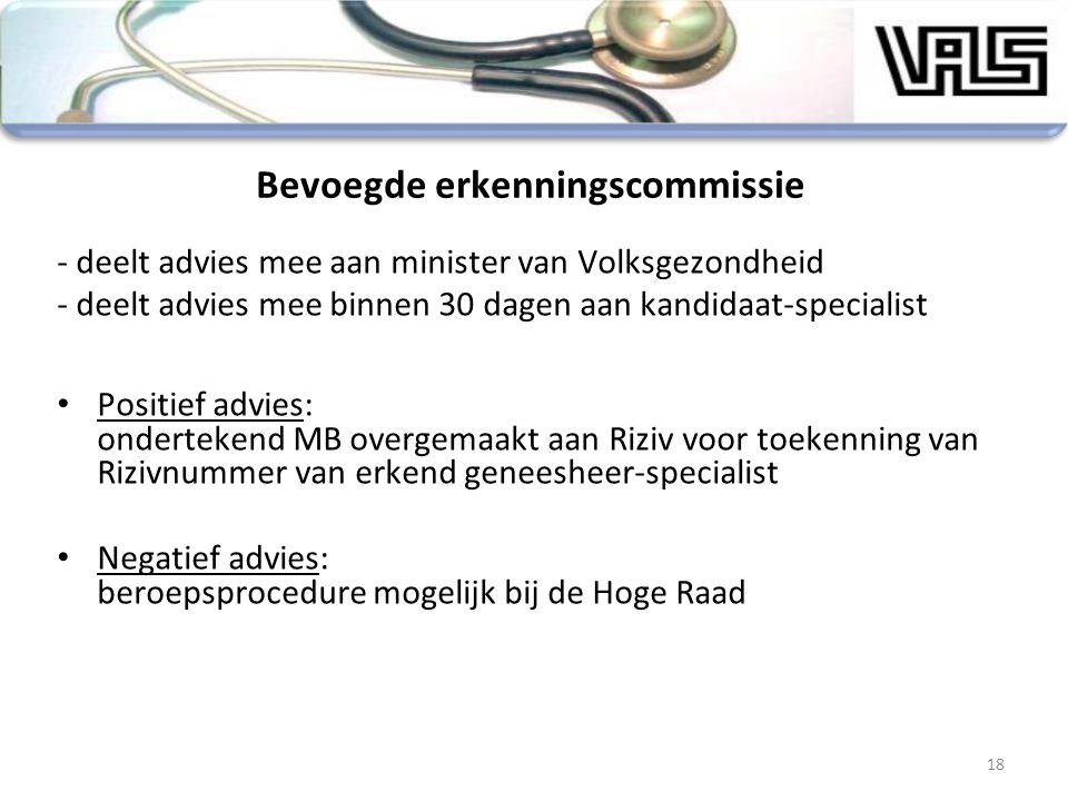Bevoegde erkenningscommissie - deelt advies mee aan minister van Volksgezondheid - deelt advies mee binnen 30 dagen aan kandidaat-specialist Positief
