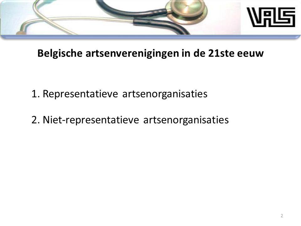 2 Belgische artsenverenigingen in de 21ste eeuw 1.Representatieve artsenorganisaties 2.Niet-representatieve artsenorganisaties