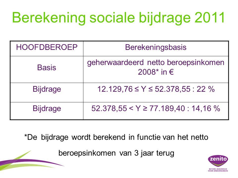 Berekening sociale bijdrage 2011 HOOFDBEROEPBerekeningsbasis Basis geherwaardeerd netto beroepsinkomen 2008* in € Bijdrage12.129,76 ≤ Y ≤ 52.378,55 : 22 % Bijdrage52.378,55 < Y ≥ 77.189,40 : 14,16 % *De bijdrage wordt berekend in functie van het netto beroepsinkomen van 3 jaar terug